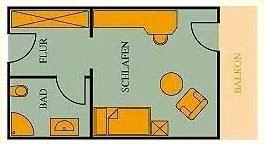 Grundriss Einzelzimmer 22qm Hotel Klumpp Baiersbronn