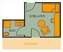 Grundriss Einzelzimmer Hotel Klumpp Baiersbronn