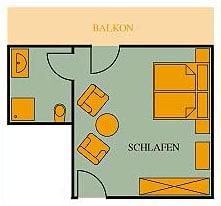 Grundriss Doppelzimmer Gästehaus 21qm