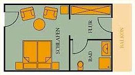 Grundriss Doppelzimmer Gästehaus 25qm