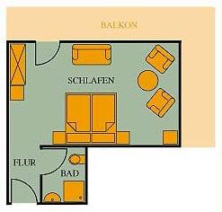 Grundriss Doppelzimmer Gästehaus 28qm