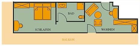 Grundriss Suite Haupthaus 44qm Hotel Klumpp Baiersbronn
