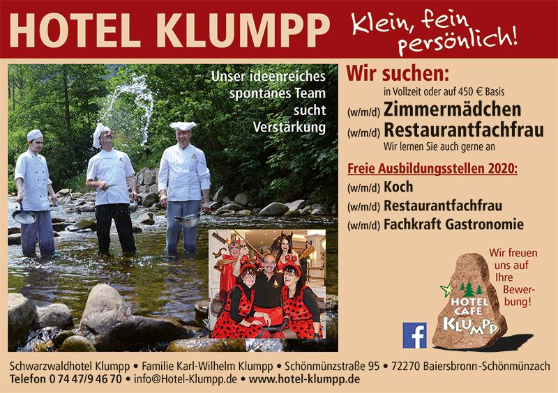 Stellenanzeige Hotel Klumpp Baiersbronn